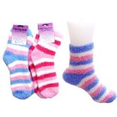 144 Units of STRIPED FUZZY SOCKS ANKLE LENGTH, ASST COLORS