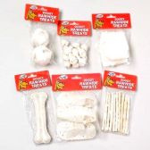 144 Units of 6 ASST DOG RAWHIDE TREATS WHITE COLOR