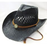 36 Units of Fashion Design StrawCowboy Hat In Brown Black Only