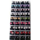 6 Units of 36 pairs Multicolored Round Earring studs In Display - Earrings