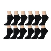 12 Units of Excell Girls Full Cushion Cotton Blend Black Ankle Socks