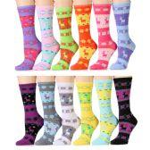 12 Units of Snowflake & Reindeer Printed Socks, Size 9-11
