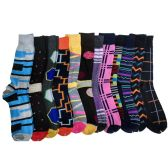 120 Units of Mens Colorful Printed Dress Socks
