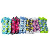 120 Units of Women's Argyle No Show Ankle Socks, Cotton