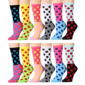 12 Units of Womens Polka Dot Crew Socks, Size 9-11 Cotton