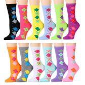 12 Units of Women's Argyle Crew Socks, Cotton Size 9-11