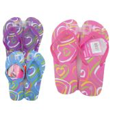 72 Units of Woman's Heart Printed Flip Flops