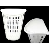24 Units of Laundry Basket W/Cover White - CLOTHESPINS/LAUNDRY ACC