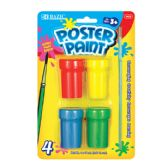144 Units of BAZIC 4 Color 18ml Poster Paint w/ Brush