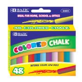24 Units of BAZIC Assorted Color Chalk (48/Box) - Chalk,Chalkboards,Crayons