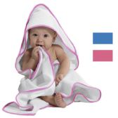 24 Units of HOODED TERRY CLOTH BABY TOWEL PINK PIPING - Towels