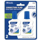 48 Units of BAZIC 20ml / 0.7 fl. oz. Correction Fluid w/ Foam Brush (2/Pk) - Correction Items