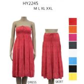 48 Units of Ladies Summer Sun Dress Or Skirt Assorted Solid Colors - Womens Sundresses & Fashion