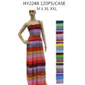 48 Units of Ladies Long Summer Sun Dresses Stripes Assorted Colors - Womens Sundresses & Fashion