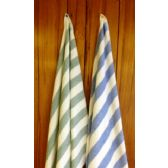 24 Units of Island Stripe Fade Resistant Color Tones Beach Towel 100% Cotton Green Color - Beach Towels