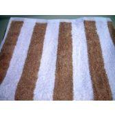 12 Units of Premium Quality Cabana Stripes 100% Cotton Soft and Thick Beach Towel End Hem Dobby Border Beige Color