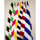 12 Units of Premium Quality Cabana Stripes -Velour Finish 100% Cotton-Soft and Plush Chocolate Brown/White