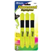 48 Units of BAZIC Yellow Desk Style Fluorescent Highlighters w/ Cushion Grip (3/Pack) - Markers and Highlighters