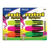 48 Units of BAZIC Mini Fluorescent Highlighters with Cushion Grip (3/Pack) - Markers and Highlighters