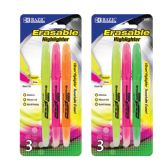 144 Units of BAZIC Erasable Highlighter (3/Pack) - Markers and Highlighters