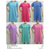 144 Units of Ladies Summer NIghtgown Assorted Solid Colors - Women's Pajamas and Sleepwear