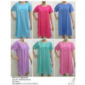 144 Units of Ladies Summer NIghtgown Assorted Solid Colors - Ladies Lingerie / Sleep Wear