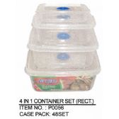 48 Units of 4 IN 1 CONTAINER RECTANGLE - Storage Holders and Organizers
