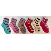72 Units of Kids Gripper Bottom Sweater Socks, With Fuzzy Trimming - Womens Thermal Socks