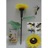 24 Units of Solar Yard Stake with Sunflower [Hummingbird] - GARDEN DECOR