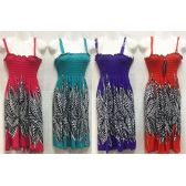 12 Units of Leaf Print Dress in Assorted Colors - Womens Sundresses & Fashion