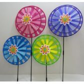 "36 Units of 13"" Round Double Wind Spinner w Flower - Wind Spinners"