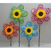 "36 Units of 14"" Double Wind Spinner [Stripes & Sunflower] - Wind Spinners"