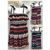 48 Units of Kids Summer Sun Dress Chevron Print with Shoulder Strap - Girls Dresses and Romper Sets