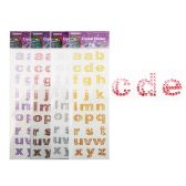 288 Units of Small Alphabet Stickers 6 Assorted - STICKERS