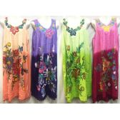 12 Units of Free Size Long Dress with Hand Painted Flower Design