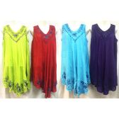12 Units of Free Size Solid Color Dress with Embroidery & Sequins