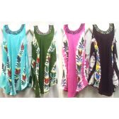 12 Units of Free Size Tie Dye Long Dress with Hand Painted Flowers
