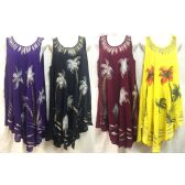 12 Units of Free Size Solid Color Long Dress Hand Painted Flowers