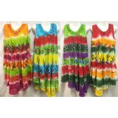 12 Units of Free Size Tie Dye Long Dress Embroidery & Hand Painted