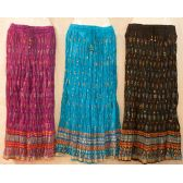 12 Units of Maxi Skirt Gold Print Adjustable Waist Tie Assorted - Womens Skirts