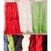 12 Units of Maxi Skirt Solid Color Crochet Adjustable Waist Tie - Womens Skirts