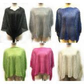 12 Units of Solid Color Knit Poncho with Shoulder Fringe - Womens Sweaters / Cardigan