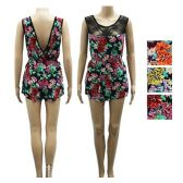 12 Units of Floral Print with Lace Dress in Assorted Colors - Womens Sundresses & Fashion