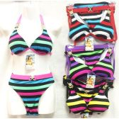 12 Units of bright color stripes Bikini Sets with Rhinestones - Womens Swimwear