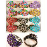 12 Units of Rhinestone Fancy Bangle Assorted Colors