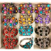 24 Units of Rhinestone Fancy Bangle Butterfly Assorted Colors