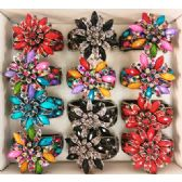 24 Units of Rhinestone Fancy Bangle Flower Assorted Colors