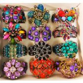 24 Units of Rhinestone Fancy Bangle Flower Assorted Colors & Styles