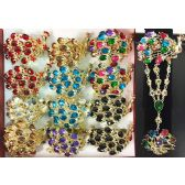 12 Units of Fancy Bangle Rhinestone Peacock Design Assorted