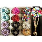 12 Units of Rhinestone Fancy Bangle Flower Design with Ring